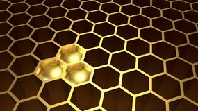 Golden hexagonal honeycomb with three full hole with gold. Abstract background. Close up. 3d Illustration and rendering image Stock Photos
