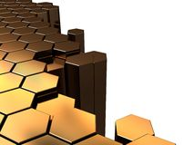Golden hexagons background Royalty Free Stock Images