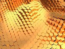 Golden hexagons background. Abstract 3d illustration of golden hexagon background Stock Images
