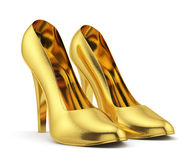 Golden high heel on white background  Stock Photography