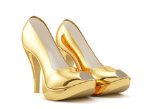 Golden high heels Stock Photography