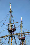 The Golden Hinde Crows Nest & Rigging. The Golden Hinde is docked at the side of the River Thames. It is a full sized exact replica of Sir Francis Drake's Royalty Free Stock Photo