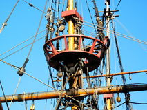 Golden Hinde. The Golden Hinde is docked at the side of the River Thames, London, England, UK. It is a full sized exact replica of Sir Francis Drake's 16th Stock Image