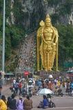 Golden HIndu Statue in Batu Caves Royalty Free Stock Images