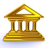 Golden historical building icon. 3d illustration of golden historical building icon Royalty Free Stock Image