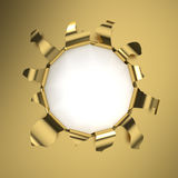 Golden Hole. Hole in a golden sheet. Computer generated image with clipping path Royalty Free Stock Photo