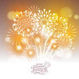 Golden holiday fireworks. Vector golden holiday fireworks in the sky Royalty Free Stock Image