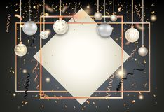 Golden holiday frame-16. Black winter decoration with shiny balls on trendy geometric frame. Dark Christmas holiday template for banners, advertising, leaflet royalty free illustration