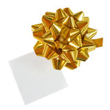 Golden Holiday Gift Bow On White. Isolated Royalty Free Stock Photo