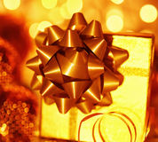 Golden holiday gift box Royalty Free Stock Photos