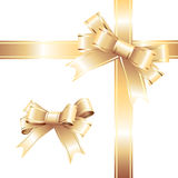 Golden holiday ribbon Stock Images