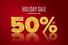 Golden holiday sale 50 percent off on red background. Limited time only. Golden realistic holiday sale 50 percent off with shadow on red background. Limited time royalty free illustration