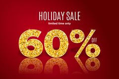 Golden holiday sale 60 percent off on red background. Limited time only. Golden realistic holiday sale 60 percent off with shadow on red background. Limited time stock illustration