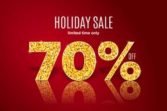 Golden holiday sale 70 per off on red background. Limited time only. Template for a banner, poster, shopping, discount, invitation. Golden realistic holiday sale vector illustration