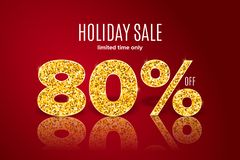Golden holiday sale 80 per off on red background. Limited time only. Template for a banner, poster, shopping, discount, invitation. Golden realistic holiday sale stock illustration