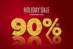 Golden holiday sale 90 percent off on red background. Limited time only. Golden realistic holiday sale 90 percent off with shadow on red background. Limited time vector illustration