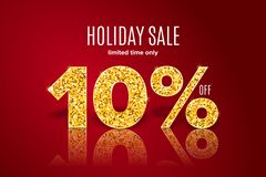 Golden holiday sale 10 percent off on red background. Limited time only. Golden realistic holiday sale 10 percent off with shadow on red background. Limited time royalty free illustration