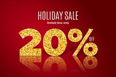 Golden holiday sale 20 percent off on red background. Limited time only. Golden realistic holiday sale 20 percent off with shadow on red background. Limited time stock illustration