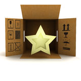 Golden holiday star product delivery. Illustration Royalty Free Stock Image