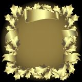 Golden holly border Royalty Free Stock Images