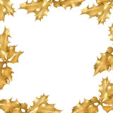Golden Holly Leaf Border Stock Photography