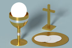 Golden holy communion chalice Royalty Free Stock Photo