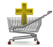 Golden holy cross in shoping cart on white Royalty Free Stock Photography