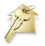 Golden home key Royalty Free Stock Photography