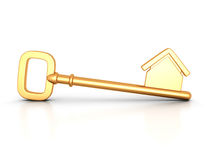Golden home key with house silhouette Stock Photo