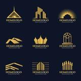 Golden home logo vector set design Royalty Free Stock Photo