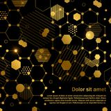 Golden honeycomb abstract geometric background template Stock Photo