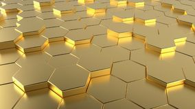 Golden Honeycomb hexagonal futuristic surface. Floor background. 3D illustration and rendering image Stock Photography