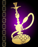 Golden hookah with a pattern Stock Photos
