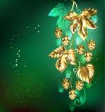 Golden hops on a green background royalty free illustration