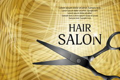 Golden horizontal background with professional scissors for advertising a hair salon. Vector vector illustration