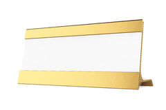 Golden Horizontal Blank Table Card Tag. 3d Rendering. Golden Horizontal Blank Table Card Tag on a white background. 3d Rendering Royalty Free Stock Image