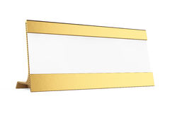 Golden Horizontal Blank Table Card Tag. 3d Rendering. Golden Horizontal Blank Table Card Tag on a white background. 3d Rendering Royalty Free Stock Images