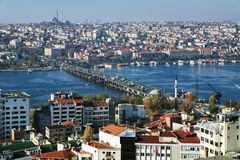 Golden Horn Bay and Ataturk Bridge in Istanbul. View of Istanbul, Golden Horn Bay and Ataturk Bridge from the Galata Tower, Turkey stock images