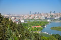The Golden Horn Bay. View of the Golden Horn Bay from a height in Istanbul royalty free stock images