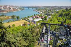 The Golden Horn Bay. View of the Golden Horn Bay from a height in Istanbul royalty free stock image