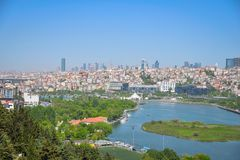 The Golden Horn Bay. View of the Golden Horn Bay from a height in Istanbul royalty free stock photo