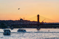 The Golden Horn and cityscape at sunset, Istanbul Royalty Free Stock Images