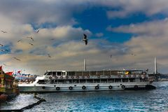 Golden Horn Fishermens & Cruise Boats Eminonu Istanbul Stock Image