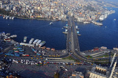 Golden Horn, the Galata Bridge. Ist. Aerial view of Golden Horn, the Galata Bridge. Istanbul, Turkey stock images