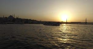 Golden Horn from Galata Bridge stock video