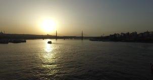 Golden Horn from Galata Bridge stock video footage