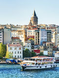 The Golden Horn and Galata district at sunset, Istanbul, Turkey Stock Photos