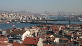 Golden Horn and Galata Tower. Unique view of estuary and galata tower, Golden Horn, İstanbul stock video footage