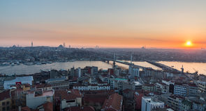 Golden horn of Istanbul at dusk Royalty Free Stock Image