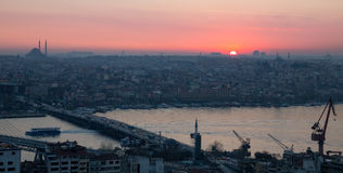 Golden horn of Istanbul at dusk Royalty Free Stock Images